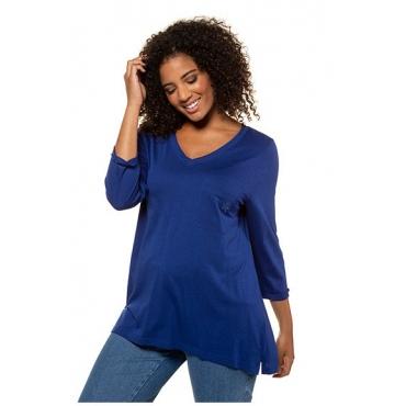 Ulla Popken Damen  Shirt, Stickerei, A-Linie, 3/4-Arm, Modalmischung, royalblau, Gr. 58/60, Mode in großen Größen