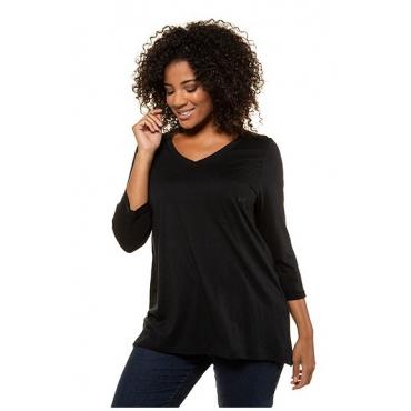 Ulla Popken Damen  Shirt, Stickerei, A-Linie, 3/4-Arm, Modalmischung, schwarz, Gr. 58/60, Mode in großen Größen