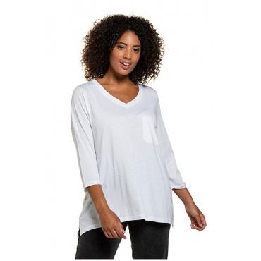 Ulla Popken Damen  Shirt, Stickerei, A-Linie, 3/4-Arm, Modalmischung, weiß, Gr. 58/60, Mode in großen Größen