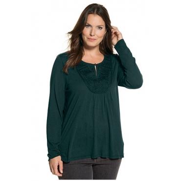 Ulla Popken Damen  Shirt, Stickerei, Keilausschnitt, hinten länger, dunkles petrol, Gr. 46/48, Mode in großen Größen