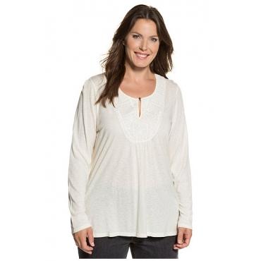 Ulla Popken Damen  Shirt, Stickerei, Keilausschnitt, hinten länger, offwhite, Gr. 50/52, Mode in großen Größen