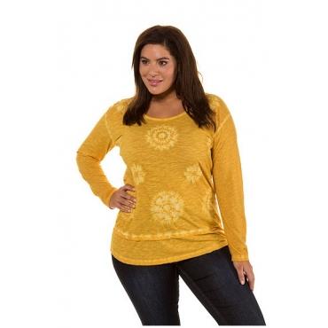 Ulla Popken Damen  Shirt, Stickerei, Oversized, Lagenlook, Oil dyed, senf, Gr. 54/56, Mode in großen Größen