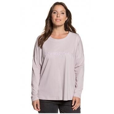 Ulla Popken Damen  Shirt, Stickerei, Rundhalsausschnitt, reine Baumwolle, perllila, Gr. 50/52, Mode in großen Größen