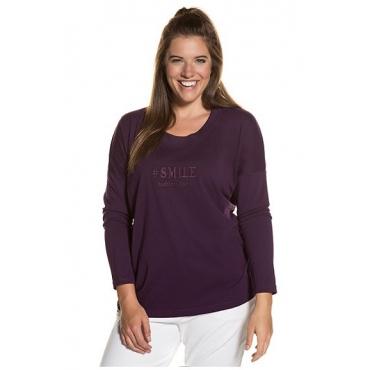 Ulla Popken Damen  Shirt, Stickerei, Rundhalsausschnitt, reine Baumwolle, purpur, Gr. 46/48, Mode in großen Größen