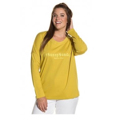 Ulla Popken Damen  Shirt, Stickerei, Rundhalsausschnitt, reine Baumwolle, senfgelb, Gr. 50/52, Mode in großen Größen
