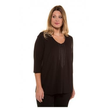 Ulla Popken Damen  Shirt, Sticklinien, Classic, Ziersteine, selection, schwarz, Gr. 58/60, Mode in großen Größen