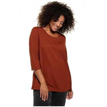 Ulla Popken Damen  Shirt, Strassmotiv, Classic, Modal-Jersey, 3/4-Arm, kupfer-rot, Gr. 58/60, Mode in großen Größen