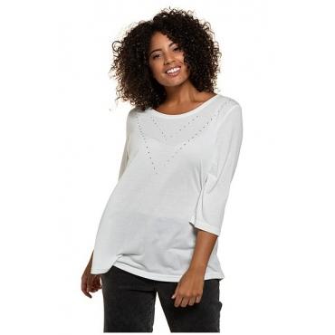 Ulla Popken Damen  Shirt, Strassmotiv, Classic, Modal-Jersey, 3/4-Arm, offwhite, Gr. 58/60, Mode in großen Größen