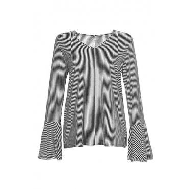 Studio Untold Damen  Shirt, Streifen, 3/4-Volantärmel, Studio Untold, royalblau, Gr. 42/44, Mode in großen Größen
