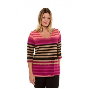 Ulla Popken Damen  Shirt, Streifen, Classic, 3/4-Arm, selection, mehrfarbig, Gr. 58/60, Mode in großen Größen