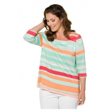 Ulla Popken Damen  Shirt, Streifen, Classic, Caree-Ausschnitt, 3/4-Arm, selection, mehrfarbig, Gr. 58/60, Mode in großen Größen