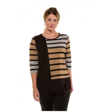 Ulla Popken Damen  Shirt, Streifen, Classic, Punto-di-Roma, selection, mehrfarbig, Gr. 58/60, Mode in großen Größen