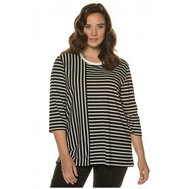 Ulla Popken Damen  Shirt, Streifenmix, 3/4-Arm, Bio-Baumwolle, schwarz-offwhite, Gr. 46/48, Mode in großen Größen