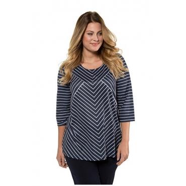 Ulla Popken Damen  Shirt, Streifenmix, Classic, 3/4-Arm, selection, nachtblau, Gr. 58/60, Mode in großen Größen