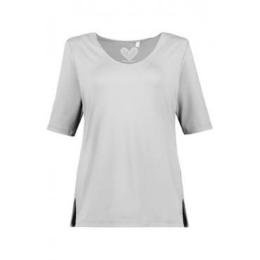 Ulla Popken Damen  Shirt, Stretchkomfort, Viskose-Crêpe, selection, hellgrau, Gr. 58/60, Mode in großen Größen