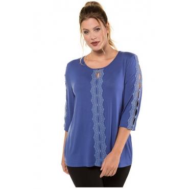 Ulla Popken Damen  Shirt, transparente Spitzenbänder, Classic, 3/4-Arm, indigo, Gr. 58/60, Mode in großen Größen