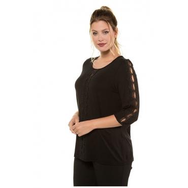 Ulla Popken Damen  Shirt, transparente Spitzenbänder, Classic, 3/4-Arm, schwarz, Gr. 58/60, Mode in großen Größen