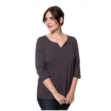 Ulla Popken Damen  Shirt, Tropfenmuster, Classic, Tunikaausschnitt, 3/4-Arm, marine, Gr. 58/60, Mode in großen Größen