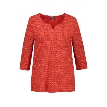 Ulla Popken Damen  Shirt, Tropfenmuster, Classic, Tunikaausschnitt, 3/4-Arm, rot, Gr. 58/60, Mode in großen Größen