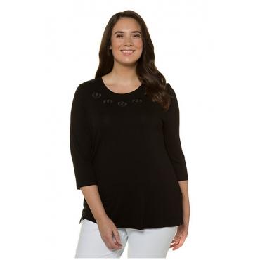 Ulla Popken Damen  Shirt, umsteppte Zierösen, Classic, Stretch, selection, schwarz, Gr. 58/60, Mode in großen Größen
