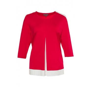 Ulla Popken Damen  Shirt, unterlegte Zierfalte, Classic, selection, rot, Gr. 58/60, Mode in großen Größen
