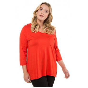Ulla Popken Damen  Shirt, V-Ausschnitt, A-Linie, Stickerei, 3/4-Arm, orangerot, Gr. 58/60, Mode in großen Größen