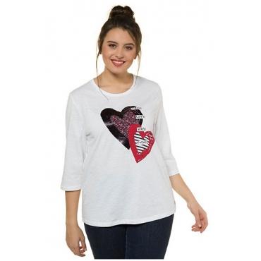 Ulla Popken Damen  Shirt, verziertes Herzmotiv, Regular, 3/4-Arm, weiß, Gr. 58/60, Mode in großen Größen