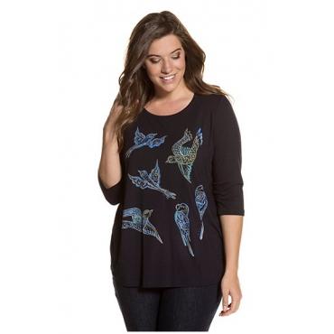 Ulla Popken Damen  Shirt, Vogelmotive, Color-Strass, Stretchkomfort, dunkelblau, Gr. 46/48, Mode in großen Größen