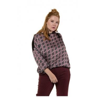 Studio Untold Damen  Shirt, Web mit Raubkatzen-Muster, Jersey-Rücken, 3/4-Ärmel, mehrfarbig, Gr. 54/56, Mode in großen Größen