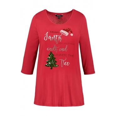 Ulla Popken Damen  Shirt, Weihnachtsmotiv, A-Linie, Pailletten, rot, Gr. 58/60, Mode in großen Größen