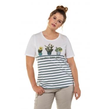 Ulla Popken Damen  T-Shirt, Kaktusmotiv, Classic, Ringel, weiß, Gr. 58/60, Mode in großen Größen