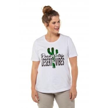 Ulla Popken Damen  T-Shirt, Kaktusmotiv, Classic, Pailletten, weiß, Gr. 58/60, Mode in großen Größen