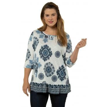 Ulla Popken Damen  Shirt, Ornament-Muster, A-Linie, Volantsaum, 3/4-Arm, weiß, Gr. 58/60, Mode in großen Größen