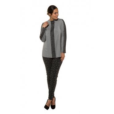 Ulla Popken Damen  Shirt, Zierbänder, Classic, Jersey, selection, mittelgrau-melange, Gr. 58/60, Mode in großen Größen