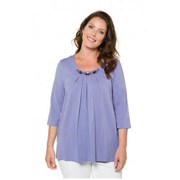 Ulla Popken Damen  Shirt, Zierfalten, A-Linie Ausschnitt-Dekor, 3/4-Ärmel, selection, lila, Gr. 42/44, Mode in großen Größen