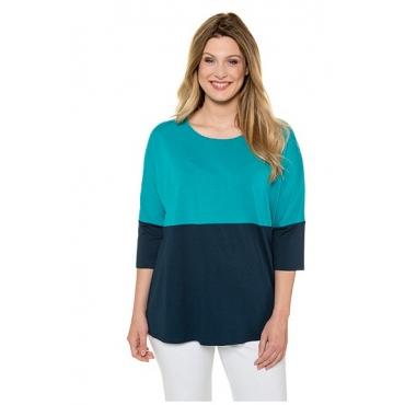 Ulla Popken Damen  Shirt, zweifarbig, Oversized, Stretch, 3/4-Fledermausarm, dunkelpetrol, Gr. 50/52, Mode in großen Größen