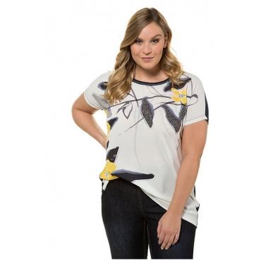 Ulla Popken Damen  Shirtbluse, Blütenmotiv, Oversized, Glitzersteinchen, weiß-marine, Gr. 58/60, Mode in großen Größen