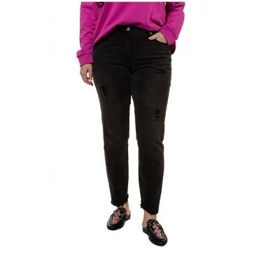 Studio Untold Damen  Skinny, Jeans mit Fransen und Destroy, 5-Pocket, schmale Form, black, Gr. 54, Mode in großen Größen