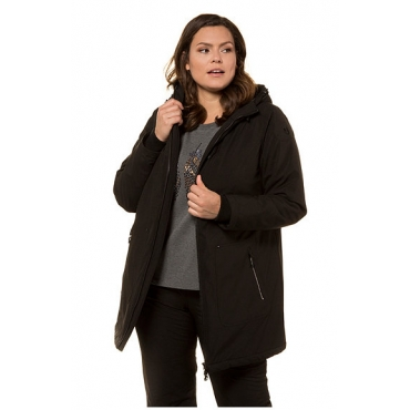 Ulla Popken Damen  Softshelljacke, atmungsaktiv, Langform, 2-Wege-Zipper, schwarz, Gr. 58/60, Mode in großen Größen