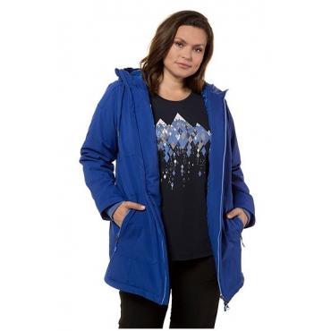 Ulla Popken Damen  Softshelljacke, Berggipfelmuster, lange Form, Kapuze, ultramarinblau, Gr. 58/60, Mode in großen Größen
