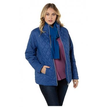 Ulla Popken Damen  Steppjacke, mit gratis Schal, royalblau, Gr. 58/60, Mode in großen Größen