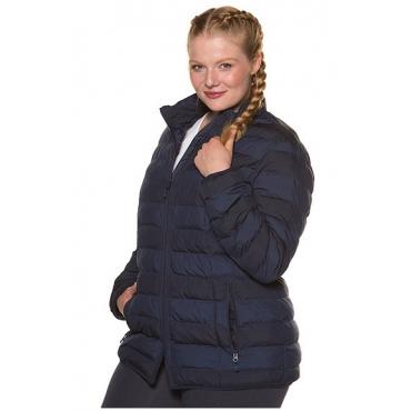 Ulla Popken Damen  Steppjacke, wasserabweisend, Blockstreifen, marineblau, Gr. 46/48, Mode in großen Größen
