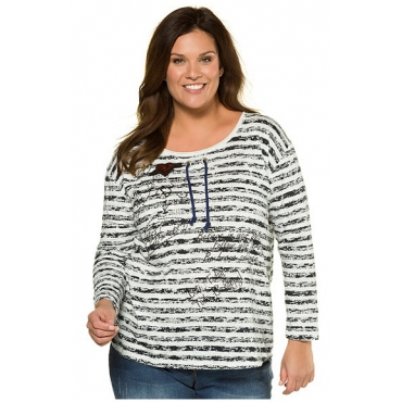 Ulla Popken Damen  Streifenshirt, Oversized, reine Baumwolle, marine, Gr. 46/48, Mode in großen Größen