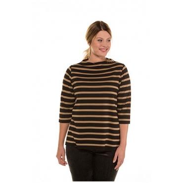 Ulla Popken Damen  Streifenshirt, Stehkragen, Classic, Jersey, selection, schwarz, Gr. 58/60, Mode in großen Größen