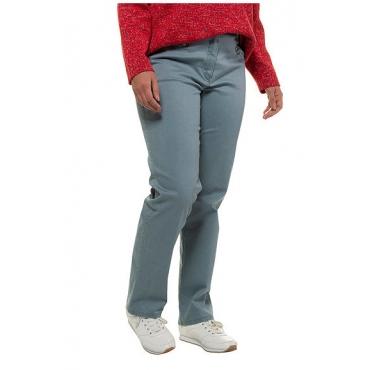 Ulla Popken Damen  Stretchhose Mony, extraweich, querelastische Qualität, taubenblau, Gr. 62, Mode in großen Größen