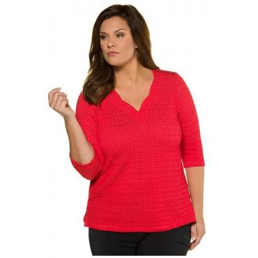 Ulla Popken Damen  Strukturshirt, Classic, Stretch, selection, rot, Gr. 58/60, Mode in großen Größen