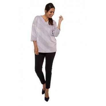 Ulla Popken Damen  Strukturshirt, grafisches Design, Oversized, 3/4-Arm, dunkle pflaume, Gr. 58/60, Mode in großen Größen