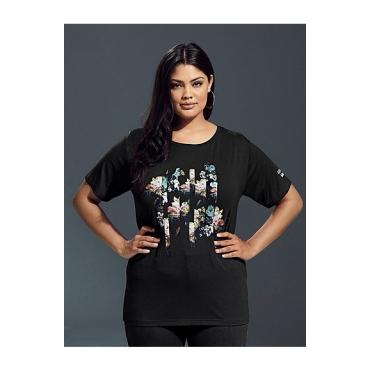 Ulla Popken Damen  Stylisches Shirt mit grafischem Rosendruck, Halbarm, schwarz, Gr. 58/60, Mode in großen Größen