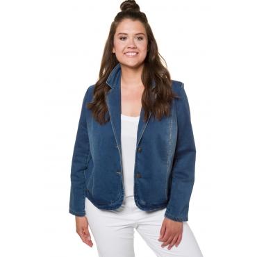 Ulla Popken  Sweat-Blazer Damen Größe 54/56, blue denim, Mode in großen Größen