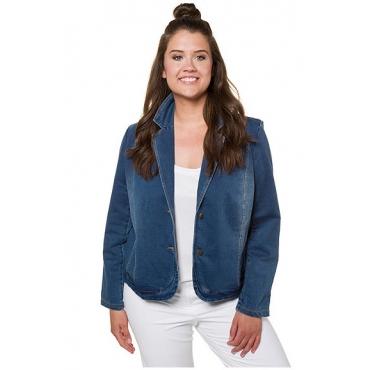Ulla Popken Damen  Sweat-Blazer, Denimoptik, kurze Form, Wascheffekte, blue denim, Gr. 58/60, Mode in großen Größen
